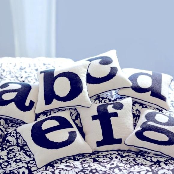 "PB teen monogram ""O"" needlepoint pillow"